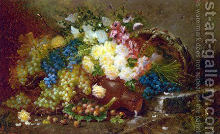 Still Life with Grapes and Roses by Max Carlier - Reproduction Oil Painting
