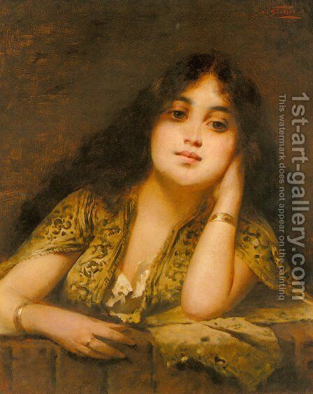 A Young Oriental Beauty by Nathaniel Sichel - Reproduction Oil Painting