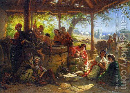 By the Well by Alois Schonn - Reproduction Oil Painting