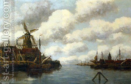 Harbour with Windmill by Jan van Vlaardingen Couver - Reproduction Oil Painting