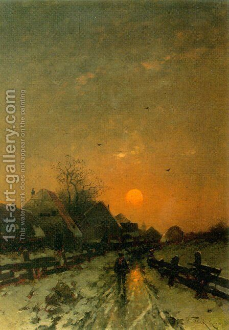 Traveler on a Snowy Track at Sunset by Heinz Flockenhaus - Reproduction Oil Painting