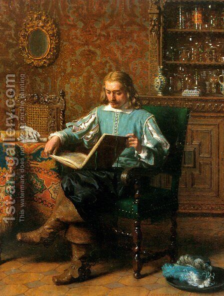 A Cavalrist Reading in a 17th Century Interior by Lambertus Lingeman - Reproduction Oil Painting