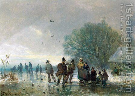 A Skating Party by Adolf Stademan - Reproduction Oil Painting