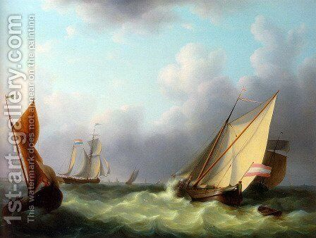Dutch Hookers at a Stiff Breeze by Martinus Schouman - Reproduction Oil Painting
