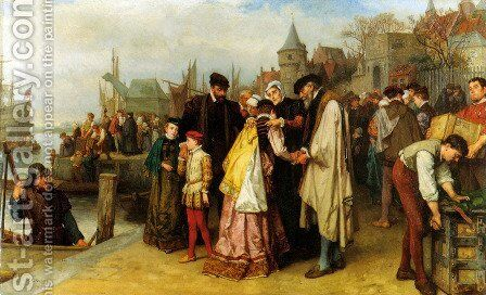 Emigration of the Huguenots - 1566 by Jan Antoon Neuhuys - Reproduction Oil Painting