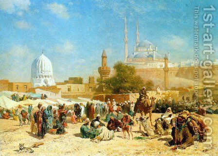 Outside Cairo by Cesare Biseo - Reproduction Oil Painting