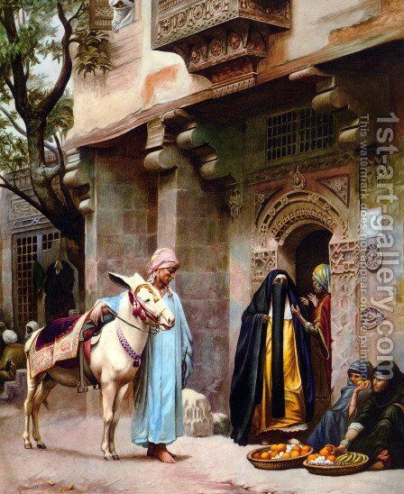 Scene de rue au Caire by H. G. Birchall - Reproduction Oil Painting