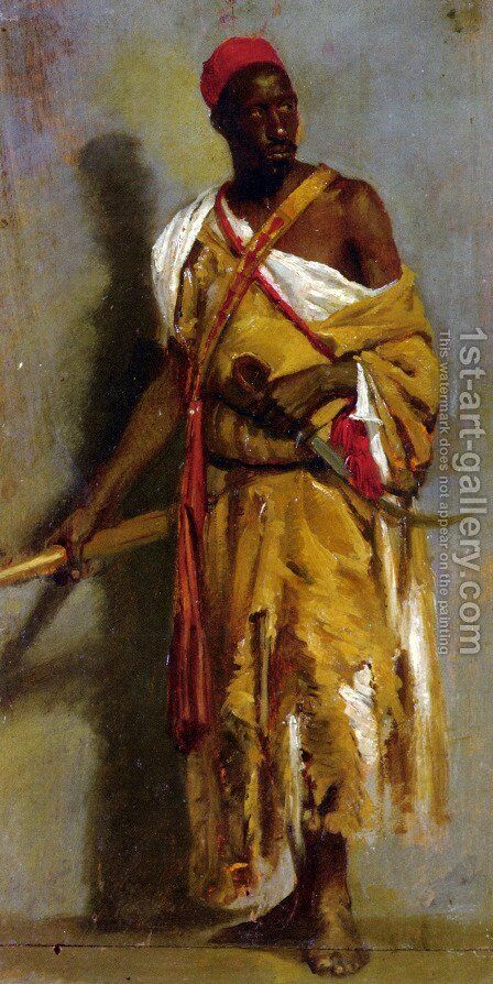 A Morrocan Guard by Stefano Ussi - Reproduction Oil Painting