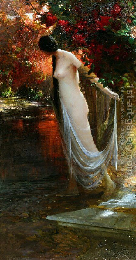 Ophelia at the River's Edge by Carlos Ewerbeck - Reproduction Oil Painting