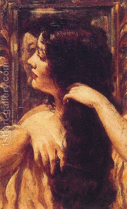 Brunette Combing Her Hair by James Carroll Beckwith - Reproduction Oil Painting