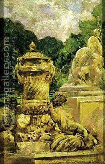 Jardin de la Fontaine Aa Nimes, France by James Carroll Beckwith - Reproduction Oil Painting