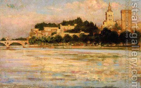 The Palace of the Popes and Pont d'Avignon by James Carroll Beckwith - Reproduction Oil Painting