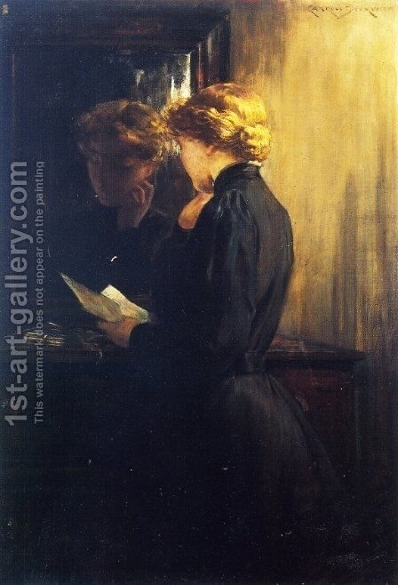 The Letter by James Carroll Beckwith - Reproduction Oil Painting
