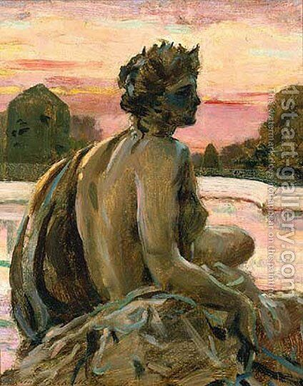 One of the Figures at the Parterre d'Eau by James Carroll Beckwith - Reproduction Oil Painting