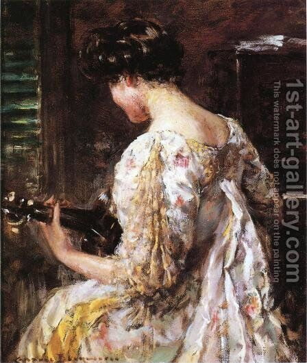 Woman with Guitar by James Carroll Beckwith - Reproduction Oil Painting
