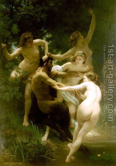 Nymphes et Satyre (Nymphs and Satyr) by William-Adolphe Bouguereau - Reproduction Oil Painting
