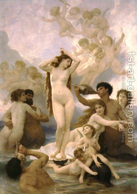 Naissance de Venus (Birth of Venus) by William-Adolphe Bouguereau - Reproduction Oil Painting