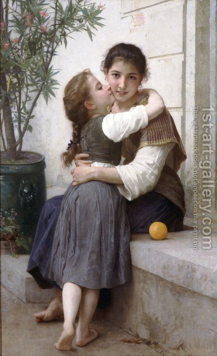 Calinerie (A Little Coaxing) by William-Adolphe Bouguereau - Reproduction Oil Painting