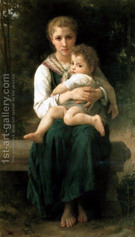 Les Deux Soeurs (The Two Sisters) by William-Adolphe Bouguereau - Reproduction Oil Painting