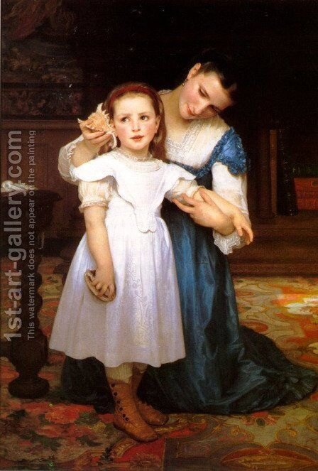 Le Coquillage (The Seashell) by William-Adolphe Bouguereau - Reproduction Oil Painting