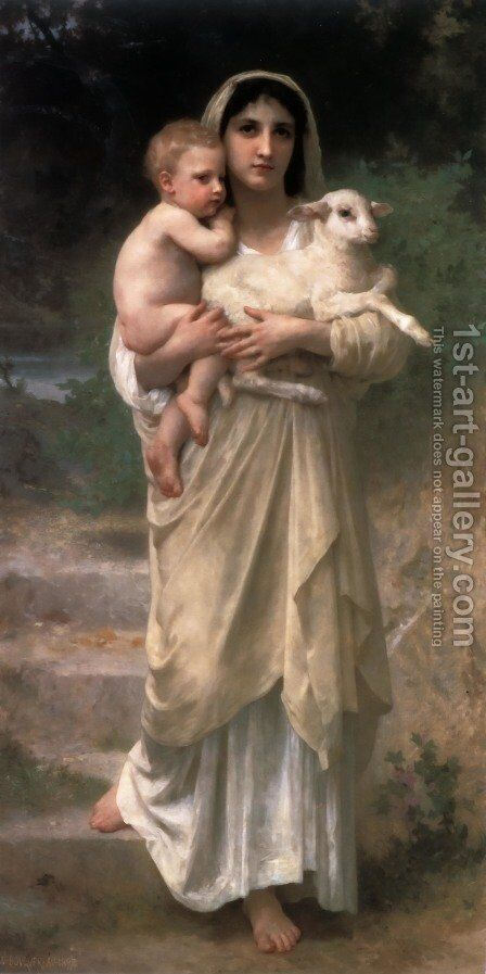 Les agneaux (Lambs) by William-Adolphe Bouguereau - Reproduction Oil Painting