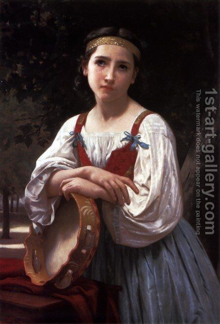 Bohemienne au Tambour de Basque (Gypsy Girl with a Basque Drum) by William-Adolphe Bouguereau - Reproduction Oil Painting