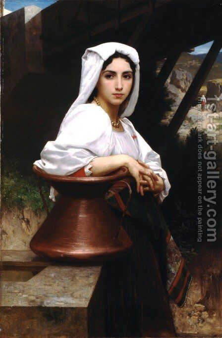 Jeune Italienne puisant de l'eau (Italian Girl Drawing Water) by William-Adolphe Bouguereau - Reproduction Oil Painting