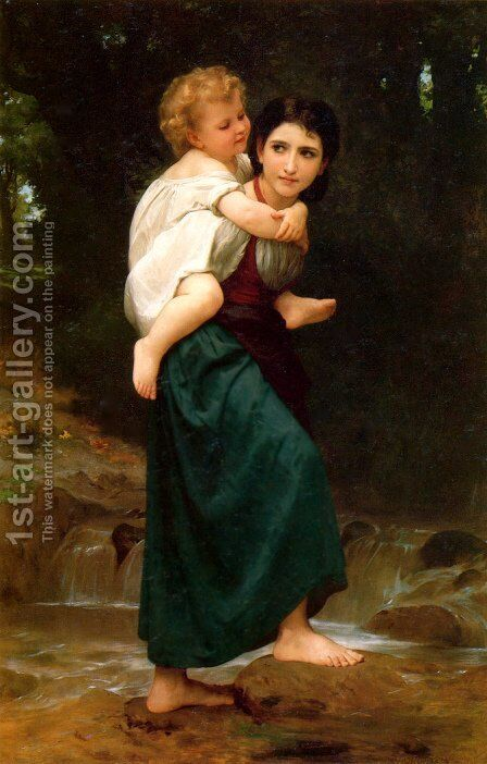 Le Passage du gué (The Crossing of the Ford) by William-Adolphe Bouguereau - Reproduction Oil Painting