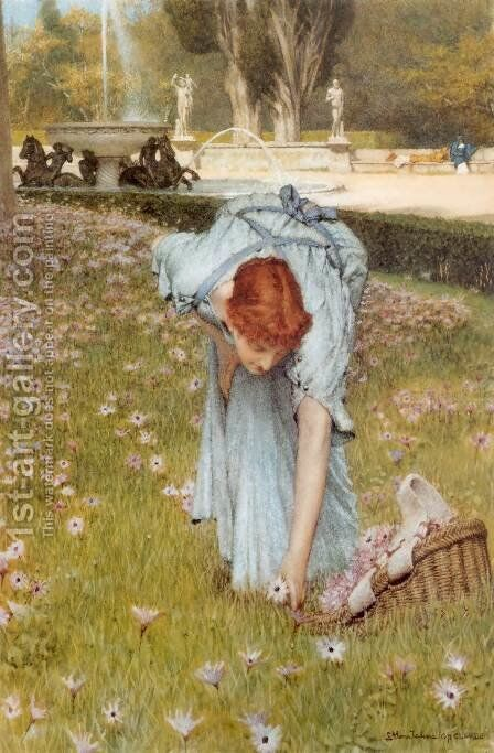 Flora (or Spring in the Gardens of the Villa Borghese) by Sir Lawrence Alma-Tadema - Reproduction Oil Painting