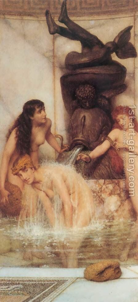 Strigils and Sponges by Sir Lawrence Alma-Tadema - Reproduction Oil Painting