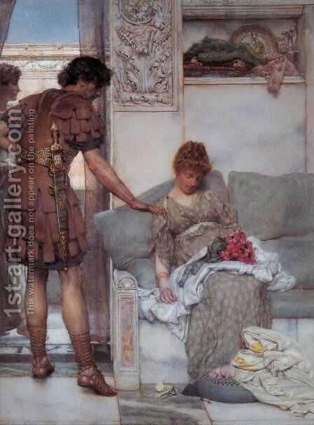 A Silent Greeting by Sir Lawrence Alma-Tadema - Reproduction Oil Painting