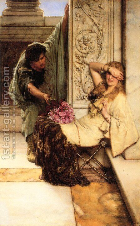 Shy by Sir Lawrence Alma-Tadema - Reproduction Oil Painting
