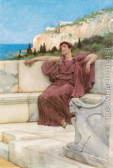 A Female Figure Resting (or Dolce far Niente) by Sir Lawrence Alma-Tadema - Reproduction Oil Painting