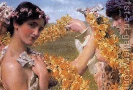 When Flowers Return by Sir Lawrence Alma-Tadema - Reproduction Oil Painting