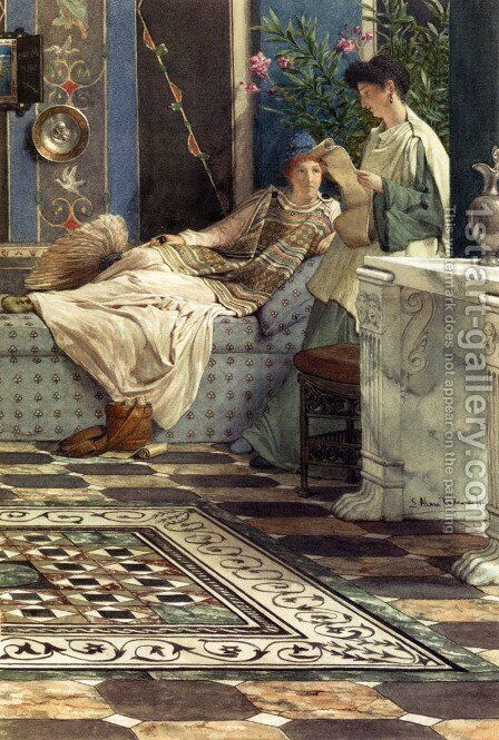 From An Absent One by Sir Lawrence Alma-Tadema - Reproduction Oil Painting