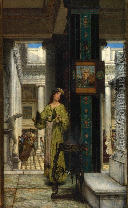 In the Temple by Sir Lawrence Alma-Tadema - Reproduction Oil Painting