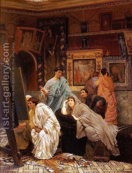 A Collection of Pictures at the Time of Augustus by Sir Lawrence Alma-Tadema - Reproduction Oil Painting