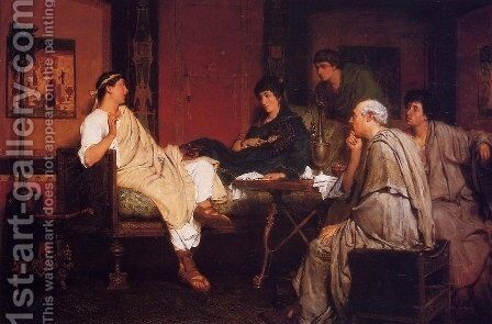 Tibullus at Delia's by Sir Lawrence Alma-Tadema - Reproduction Oil Painting