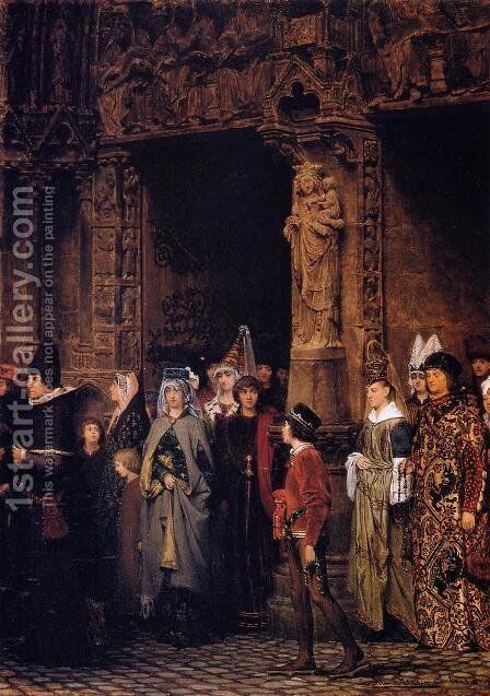 Leaving Church in the Fifteenth Century by Sir Lawrence Alma-Tadema - Reproduction Oil Painting