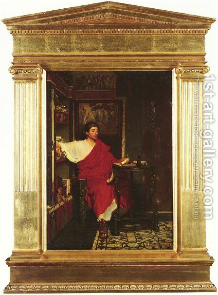 A Roman Scribe Writing Dispatches by Sir Lawrence Alma-Tadema - Reproduction Oil Painting