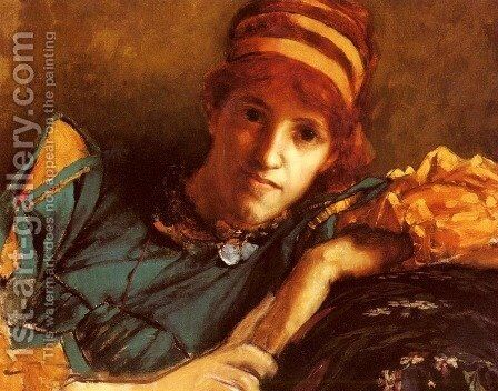 Portrait Of Miss Laura Theresa Epps (Lady Alma-Tadema) by Sir Lawrence Alma-Tadema - Reproduction Oil Painting