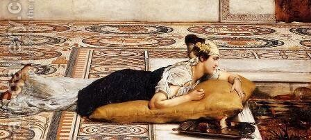 Water Pets by Sir Lawrence Alma-Tadema - Reproduction Oil Painting