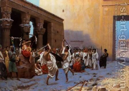 The Pyrrhic Dance (or Sword Dance Before Egyptian Ruins) by Jean-Léon Gérôme - Reproduction Oil Painting