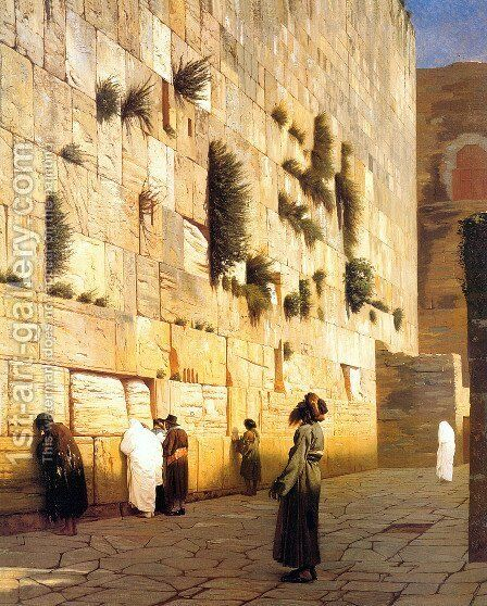 Solomon's Wall Jerusalem (or The Wailing Wall) by Jean-Léon Gérôme - Reproduction Oil Painting