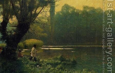 Summer Afternoon on a Lake by Jean-Léon Gérôme - Reproduction Oil Painting