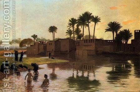 Bathers by the Edge of a River by Jean-Léon Gérôme - Reproduction Oil Painting