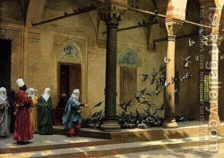 Harem Women Feeding Pigeons in a Courtyard by Jean-Léon Gérôme - Reproduction Oil Painting