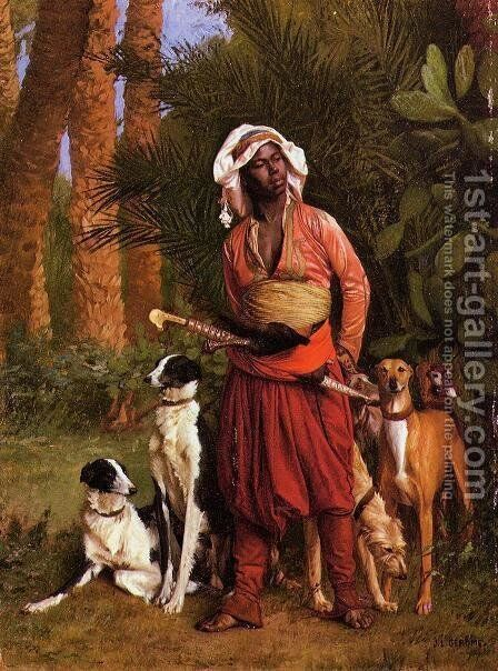 The Negro Master of the Hounds by Jean-Léon Gérôme - Reproduction Oil Painting