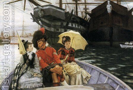"""Portsmouth Dockyard (or """"How happy I could be with either"""") by James Jacques Joseph Tissot - Reproduction Oil Painting"""