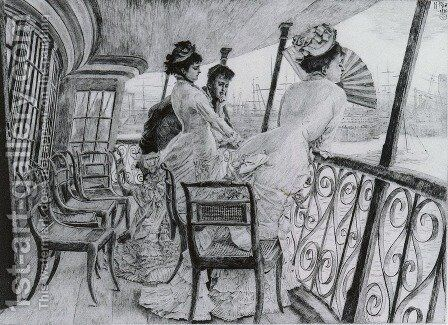 La Galerie du 'Calcutta' - Souvenir d'un Bal a Bord (The Gallery of HMS Calcutta - A Memory of an on-board Ball') by James Jacques Joseph Tissot - Reproduction Oil Painting